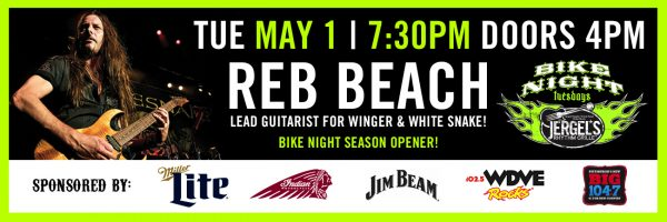 Bike Night Season Opener – Special Guest Reb Beach!