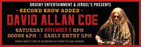 David Allan Coe – 2nd Show Added