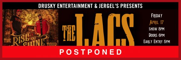 RESCHEDULED for July 30 – The Lacs